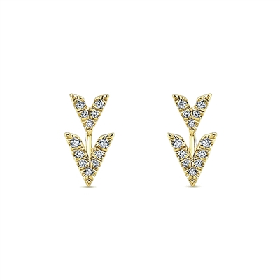 Diamond earrings .14ct total weight in 14K yellow gold.