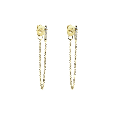 Diamond earrings .10ct total weight in 14K yellow gold.
