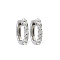 1/2 carat diamond hoop earrings in 14k white gold