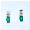 Emerald and diamond 14K white gold earrings