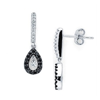 Shimmering .19ct black diamonds and .16ct white diamonds in 14K white gold earrings.
