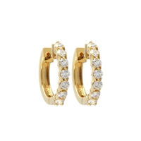 Diamond hoop earrings 1 carat total weight in 14KY