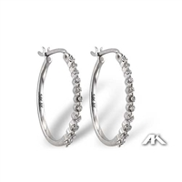 Diamond hoop earrings in 14K white gold total diamond weight of .33ct.