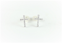 Diamond cross earrings in 14K white gold