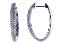 Diamond pave set oval hoops 1/2ct total weight in 14K white gold.