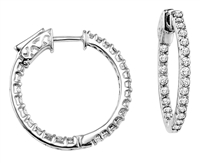 1 carat diamond hoop earrings in 14k white gold