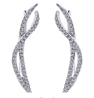 Diamond ear climbers in 14K white gold