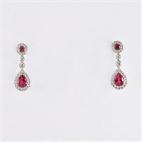 Ruby and diamond earrings in 18K white gold