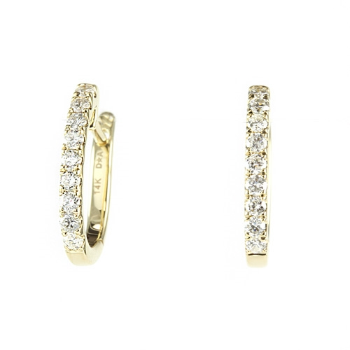 Diamond Hoop Earrings 1 3 Carat Total Weight In 14ky