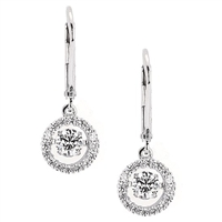 Shimmering 1ct total weight of diamonds in 14K white gold earrings.