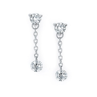 Shimmering 1/2ct total diamond weight diamond earrings in 14K white gold.