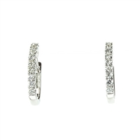 1/3 carat diamond hoop earrings in 14k white gold