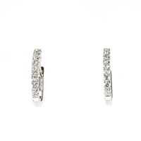 1/4 carat diamond hoop earrings in 14k white gold
