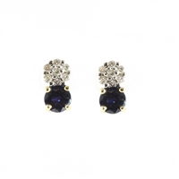Blue Sapphire and diamond earrings in 14K yellow gold.