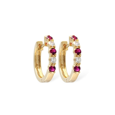 Ruby and diamond earrings in 14K yellow gold.