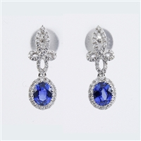 Blue Sapphire and diamond earrings in 18K white gold.