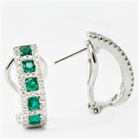 Emerald and diamond hoops in 14k white gold.