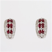 Ruby and diamond hoop earrings in 18K white gold.
