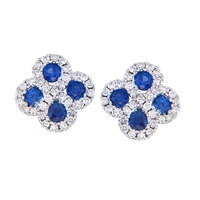 Sapphire and diamond 14K white gold earrings