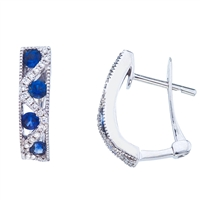 Sapphire and diamond hoops in 14K white gold.