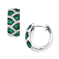 Emerald and diamond earrings in 14K white gold.  Diamond weight .33ct. total weight.