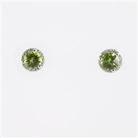 Checkerboard cut peridot with diamond halo in 14KW