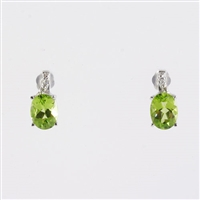 Oval peridot with diamond earrings in 14KW
