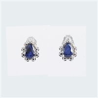 Blue Sapphire and diamond earrings in 14K white gold.
