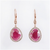 Rough cut ruby earrings with diamonds in 14K