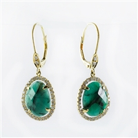 Rough cut emerald earrings with diamonds 14K gold