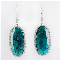 Turquoise and diamonds earrings in 14K white gold