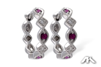 Ruby and diamond earrings in 14K white gold