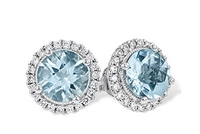 14KW AQUAMARINE DESIGNER EARRINGS, 1.28 CT AQUAMARINE .19CT DIAMONDS
