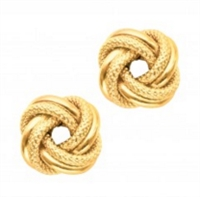Elegant love knot earrings in 14K yellow gold