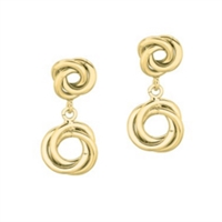 Elegant love knot drop earrings in 14K shiny yellow gold