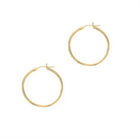 Classic 14K yellow gold 2x30mm hoops.