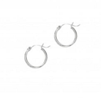 14K white gold hoops 2x20mm