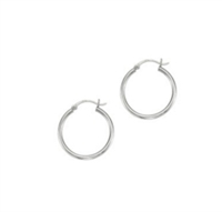 14K white gold hoops 2x25mm