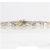 Diamond bracelet with 1/2ct total diamond weight in 14K two-tone gold.