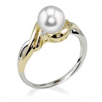 Classic pearl ring features single freshwater pearl with 2 diamonds in versatile 14K two-tone gold.