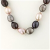 "18"" Baroque freshwater pearl strand in tones of black and white. Sterling silver clasp."