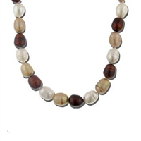 "18"" Baroque freshwater pearl strand in shades of brown and cream. Sterling silver clasp."