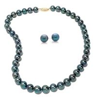 Black freshwater pearl necklace and earring set 14K yellow gold