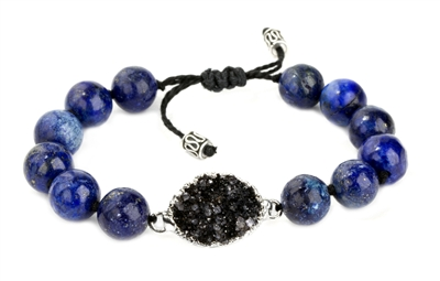 Divine Lotus Black Druzy and Lapis Silver Bracelet