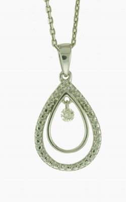 Floating diamond pendant in sterling silver