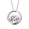 Sterling silver shimmering diamond heart pendant with .07ct total diamond weight
