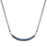 Blue sapphire necklace in sterling silver.