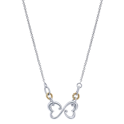 "Sterling silver and 18K gold ""Eternal Love"" double heart necklace."