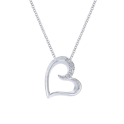 "Sterling silver heart necklace with white sapphires on 18"" sterling silver chain."