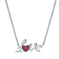 "Sterling silver and ruby ""Love"" necklace."